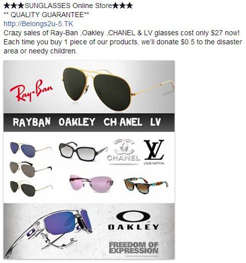 Une fausse annonce pour des lunettes de marque à bas prix se propage sur Facebook. Il s'agit en réalité de la propagation du malware Zeus sur le réseau social.