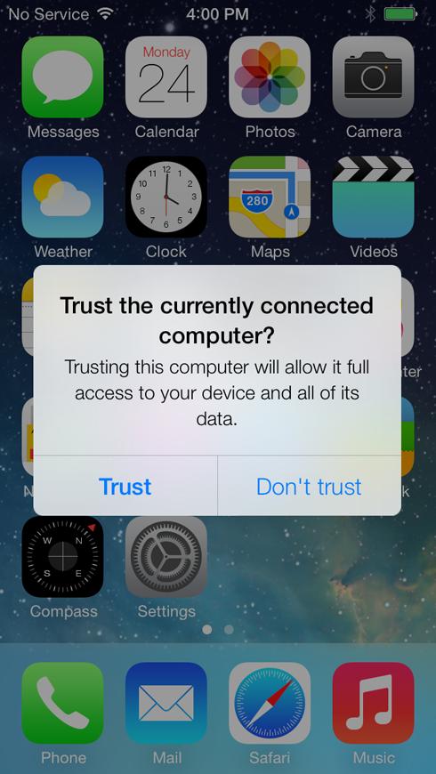 Le prochain iOS 7 permettra à l'utilisateur de confirmer ou non la confiance qu'il porte à un appareil relié en USB