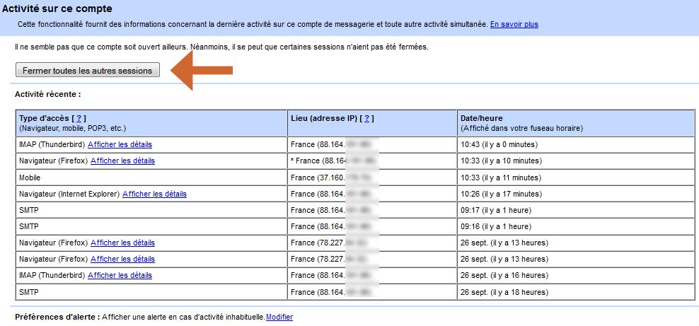 Et hop, toutes les autres sessions ouvertes de votre compte Gmail sont immédiatement fermées !