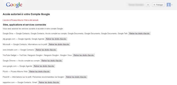 Aie, la liste des applications tierces autorisées à se connecter à ce compte Google est plus longue que prévue ! Faites le ménage !