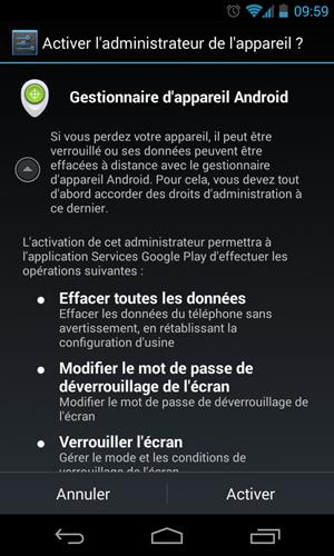 Après l'envoi de la notification Google, cet écran s'affiche sur le smartphone Android