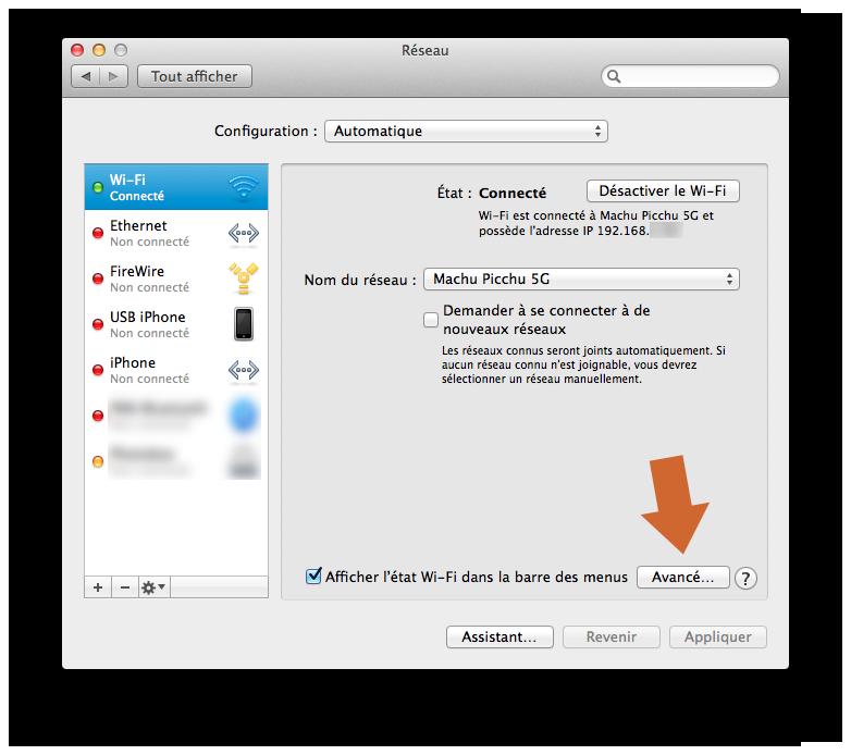 Préférences réseau avancées sous OS X