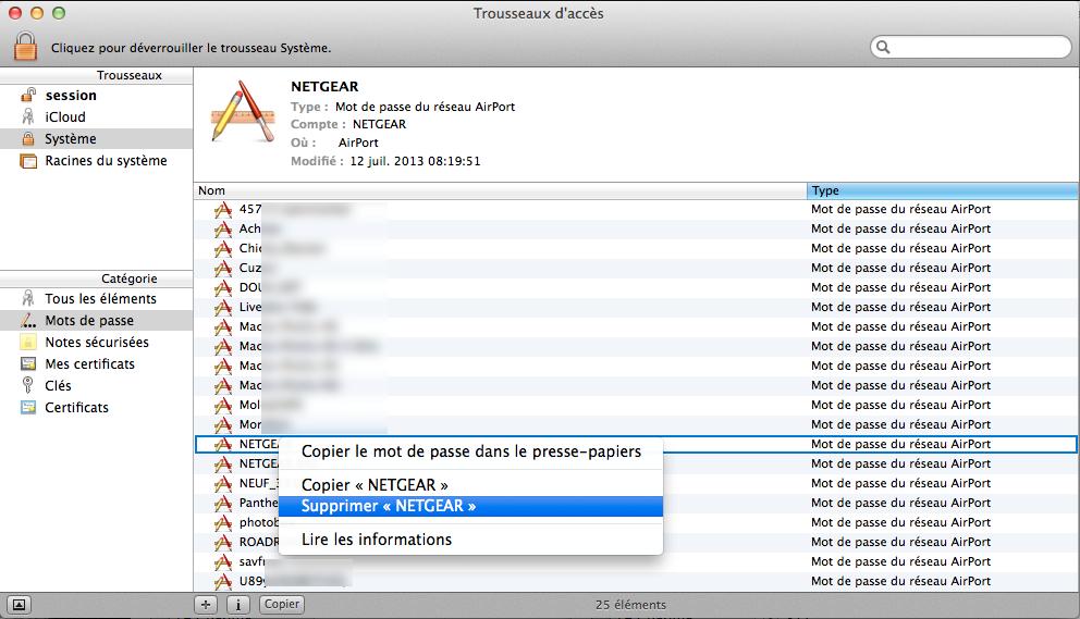 Comment supprimer un réseau WiFi sous OS X