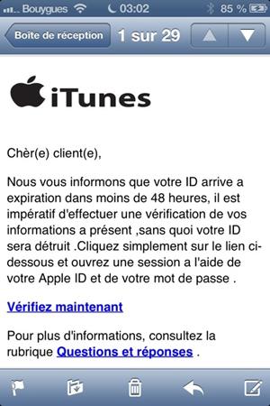 L'habit ne fait pas le moine ! Ceci est par exemple un faux mail Apple.