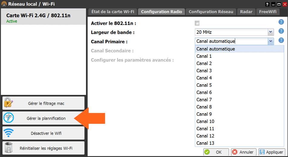 Comment accéder à la gestion de planification WiFi sur Freebox Révolution (V6)