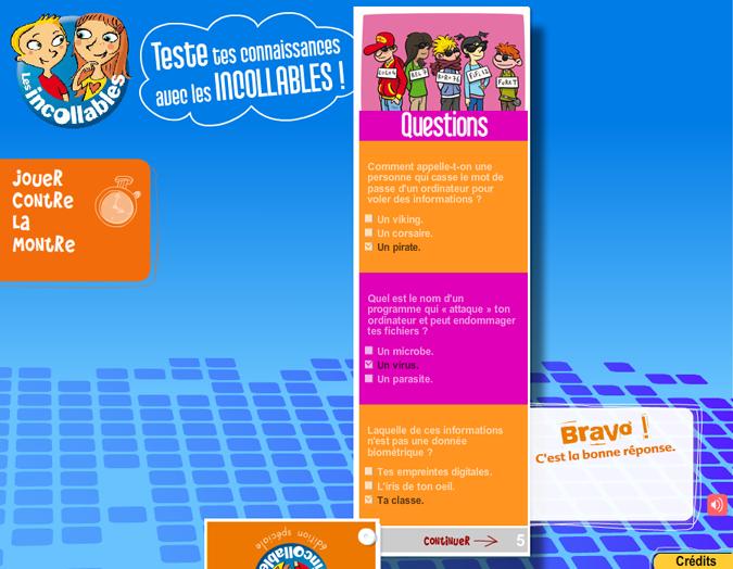 Le jeu éducatif Incollables proposé par la CNIL permet d'apprendre aux enfants les bases d'un Internet protégé
