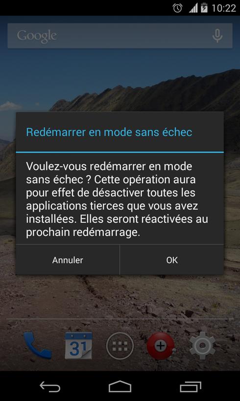 Comment accéder au redémarrage en mode sans échec sous Android