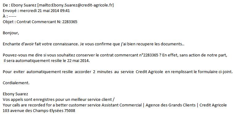 Attention, ceci n'est pas un vrai mail du Crédit Agricole, mais un courriel frauduleux contenant un virus (pièce jointe .zip)