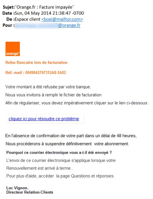 En dépit des apparences, ceci est un message frauduleux destiné à collecter les données bancaires des clients Orange (phishing), et non un mail émis par l'opérateur.