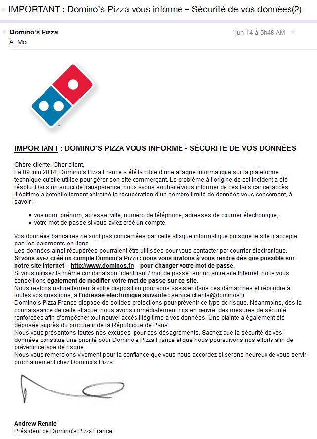 Domino's Pizza a alerté ses clients 5 jours après le piratage de sa base de données
