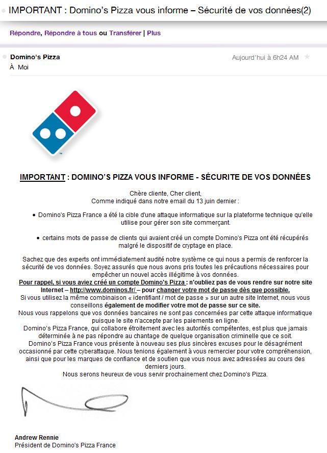 Pourquoi et comment changer son mot de passe Domino's Pizza