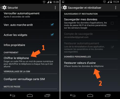 Pour réinitialiser proprement un smartphone Android, il faut d'abord chiffrer son contenu.