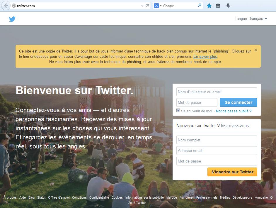 Vous étiez prêt à saisir vos identifiants Twitter sur ce site ? Il ne s'agit pourtant pas de twitter.com !