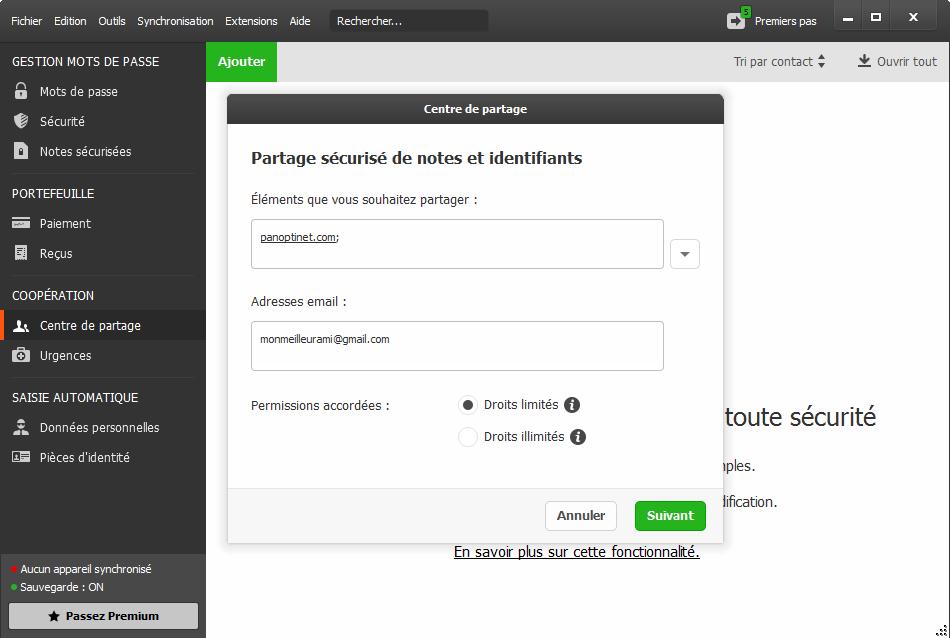 Comment partager un identifiant, un mot de passe ou un accès avec Dashlane
