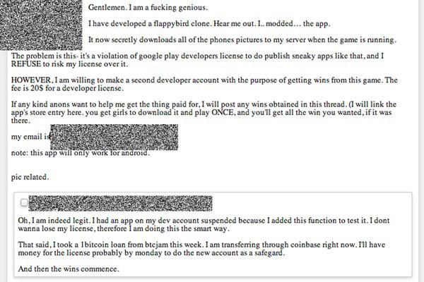 Sans complexe, le hacker vante les mérites de sa version malveillante de Flappy Bird, destinée à voler les photos personnelles des utilisateurs(trices)