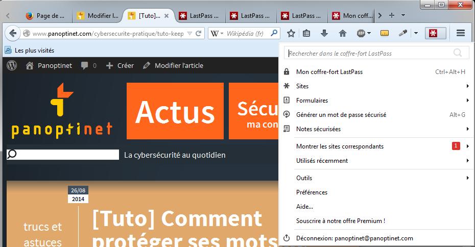 Toutes les fonctions de LastPass sont accessibles depuis l'extension intégrée au navigateur