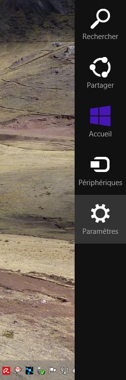 Raccourci clavier pour faire apparaître la barre des charmes Windows 8 :